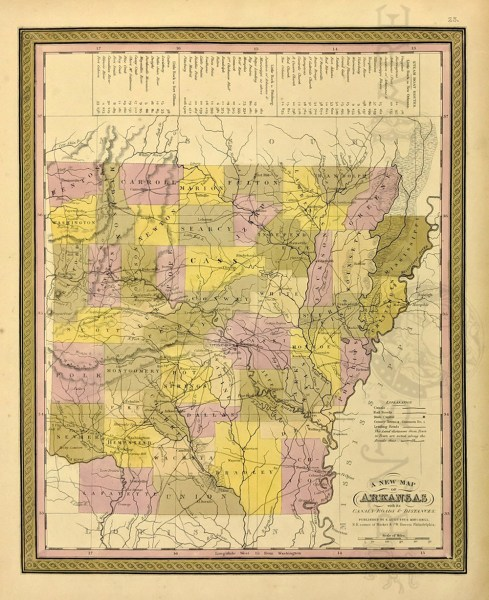 Prints Old   Rare   Arkansas   Antique Maps   Prints 1850 Cowperthwait hand colored New Map of Arkansas with its Canals  Rpads  and Distances  There s also a guide to the steamboat routes of that era