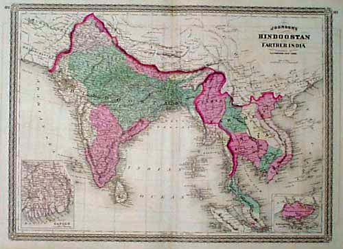 Prints Old   Rare   India   Antique Maps   Prints 1867 Johnson Map of India  Indochina  Hand colored  antique engraved map  published in 1867 by the A J  Johnson Co  Map title is  Johnson s  Hindoostan and