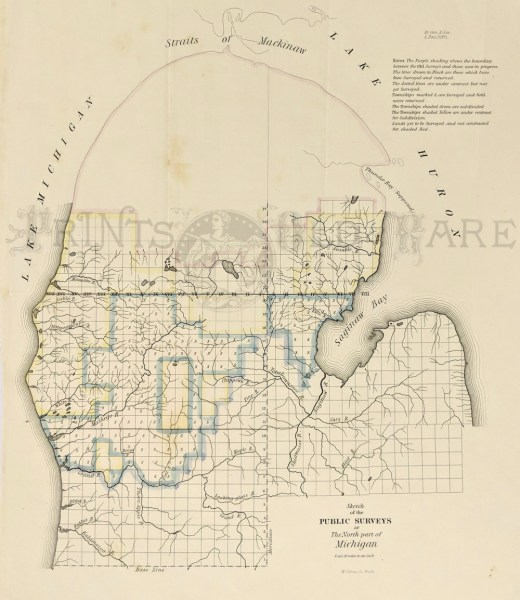 Prints Old   Rare   Michigan   Antique Maps   Prints C 1840 Very early Pre Civil War Survey Map of the North Part of Michigan   Note that survey has only started in the new Territory  16 x 13 in