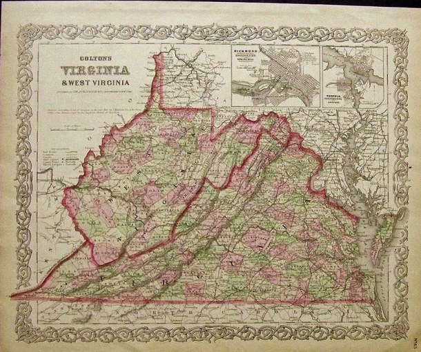 Prints Old   Rare   Virginia   Antique Maps   Prints Rare Colton 1855 hand colored engraved map of Virginia   West Virginia  with  insets of Richmond   Norfolk in top right  17 1 2 x 14 in   250