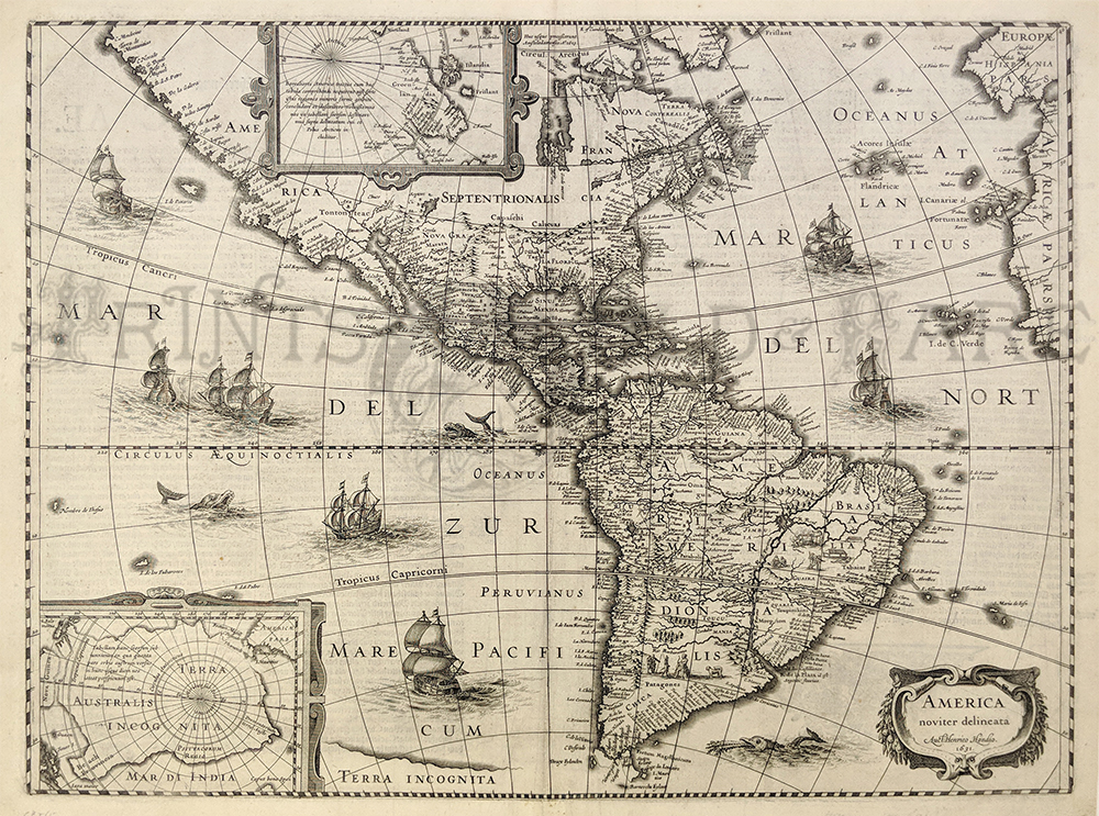 Prints Old   Rare   World Maps   Antique Maps   Prints Very decorative map of the Americas published in Amsterdam  Showing sea  creatures in sailing ships in both the Atlantic and Pacific Oceans