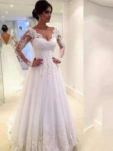 Ball Gown Tulle V neck Long Sleeves Court Train With Lace Wedding     add your photo      Ball Gown Tulle V neck Long Sleeves Court Train With Lace Wedding  Dresses