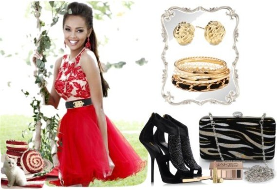 How to Style  Short Red Dress with Black   Gold Accessories short red prom dress with black gold accessories
