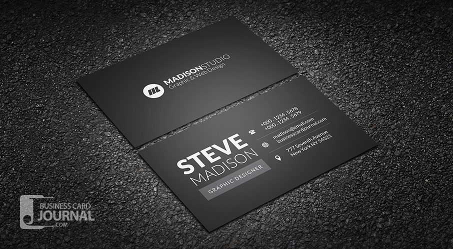 41  High Quality Business Card Templates PSD   Free Download     Dark Minimal Typography Business Card Template
