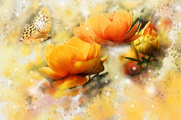Flower And Butterfly Watercolor Free Stock Photo Public