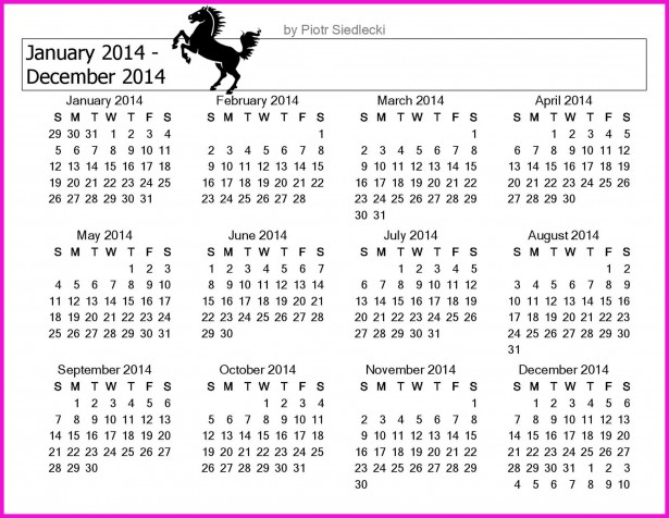 2014 Calendar Month
