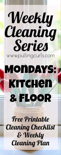 Kitchen cleaning | weekly cleaning | printable | floor via @pullingcurls