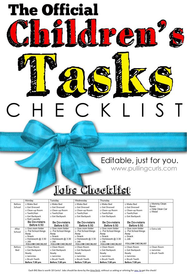 Daily tasks for kids