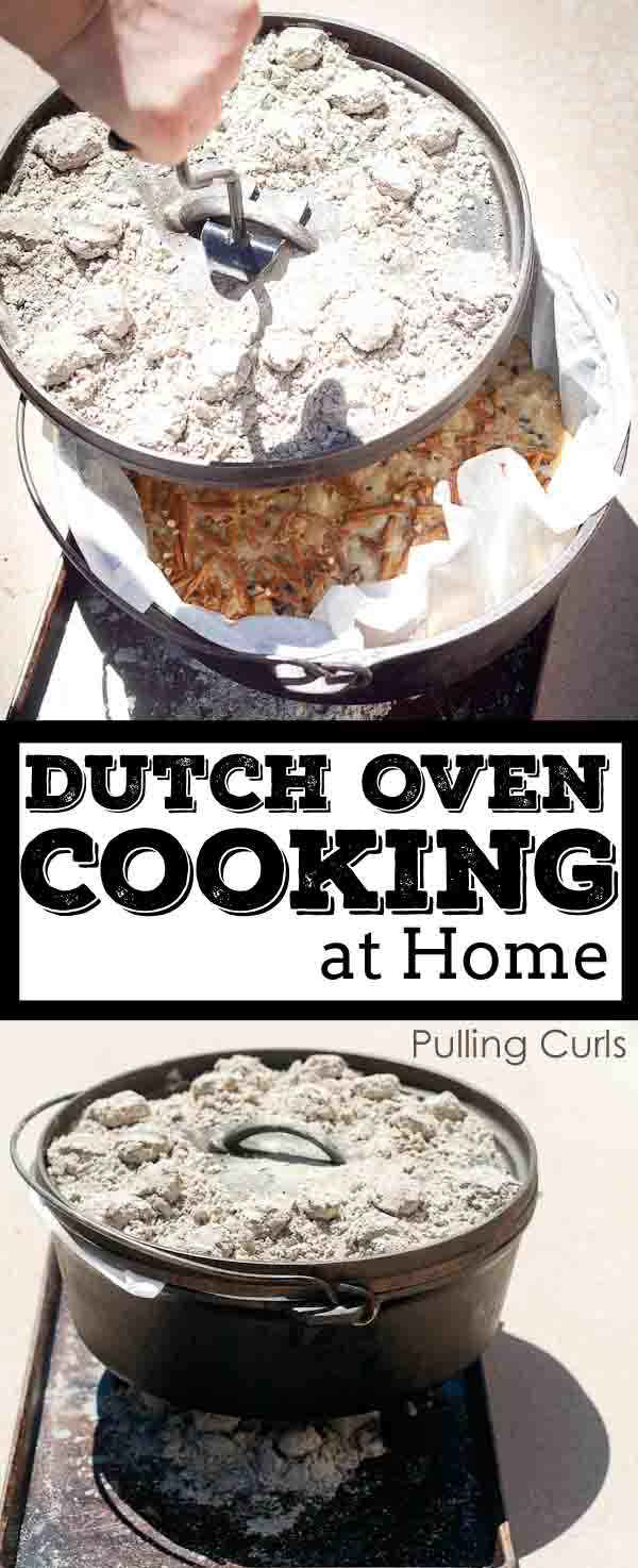 Dutch oven doesn't just have to happen in the woods, you can even do it at home.  Leave the hot oven off and try some summer cooking outside for a change! via @pullingcurls