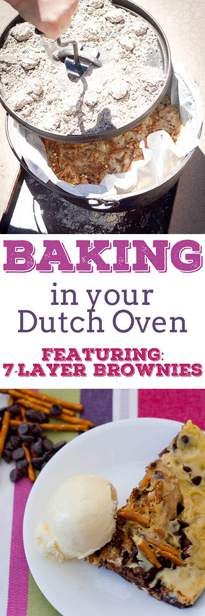 Dutch oven baking | brownies | 7-layer | easy recipes | camping | products | charcoal via @pullingcurls