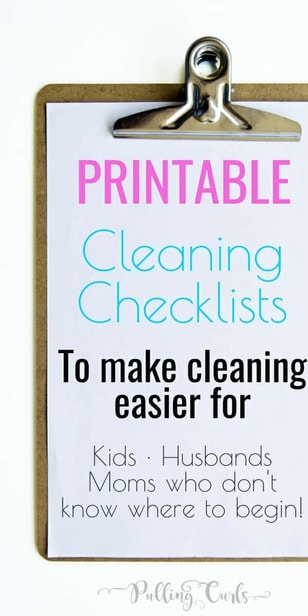 House Cleaning List -- This printable house cleaning list will give you a checkmark road to a clean house. Instead of feeling overwhelmed, just get it done, one check at a time! via @pullingcurls