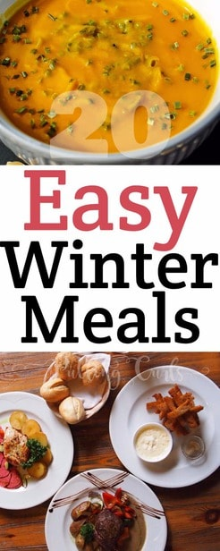 Easy winter meals includes soups, casseroles, and more.  These hearty winter recipes might even give you some winter lunch ideas for work too. via @pullingcurls