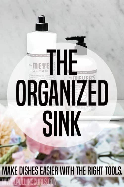 Top of the kitchen sink organization is imperative to cleaning up your kitchen quickly and effectively. Even if it's small, on an island or you just need to DIY something, this post has the tools for you!