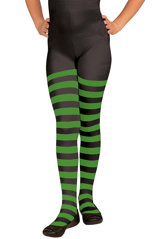 Child Striped Tights Green Black Purecostumes Com