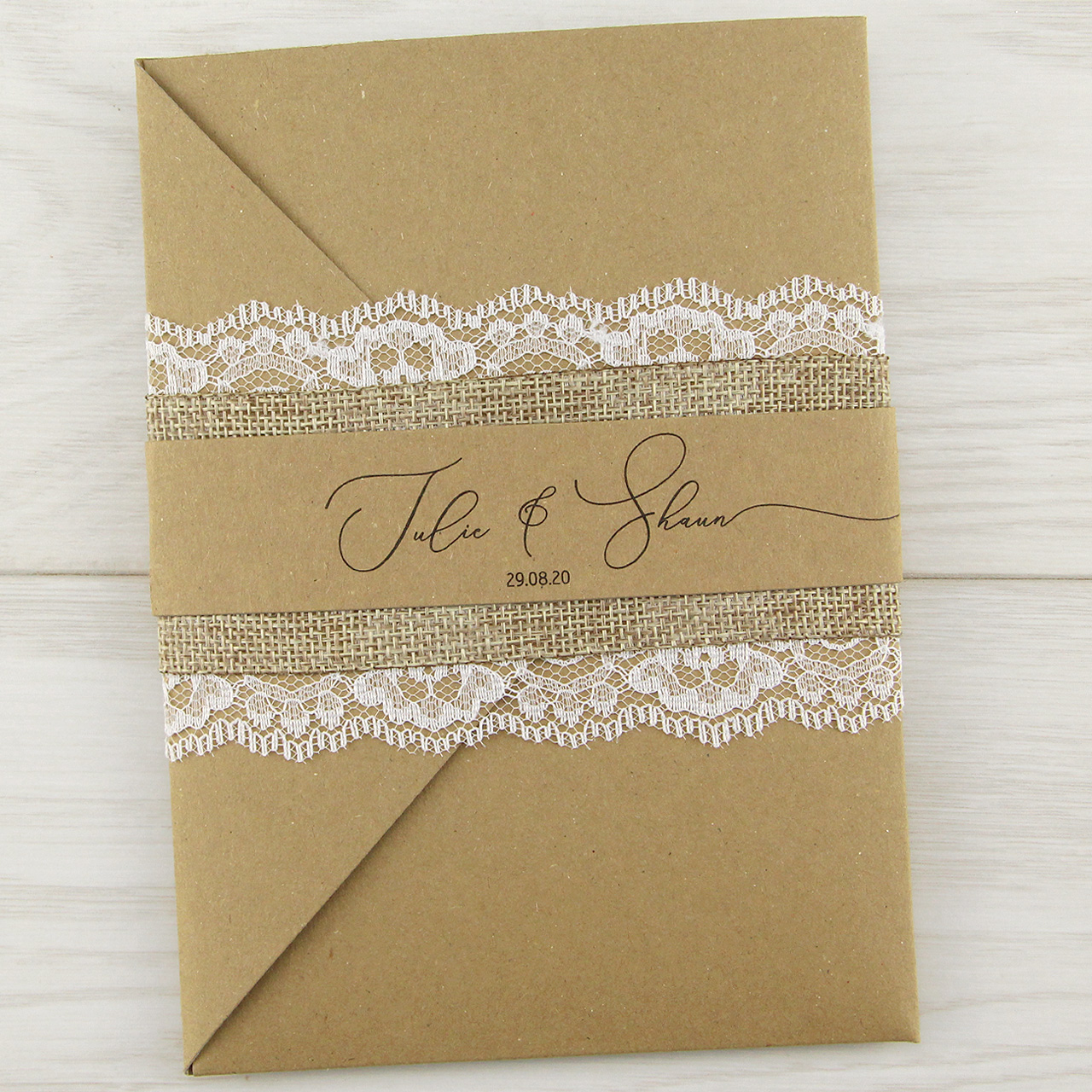 Rustic Pocketfold Wedding Invitations Uk