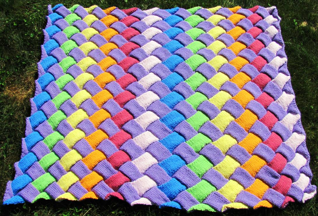 Knit Entrelac Baby Blanket Pattern