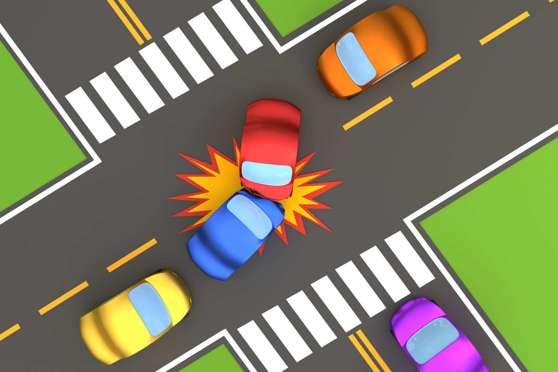 Overhead View Of Intersection Collision Free Image Download