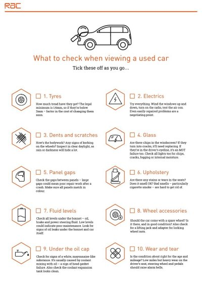 Buying a used car - the ultimate checklist | RAC Drive