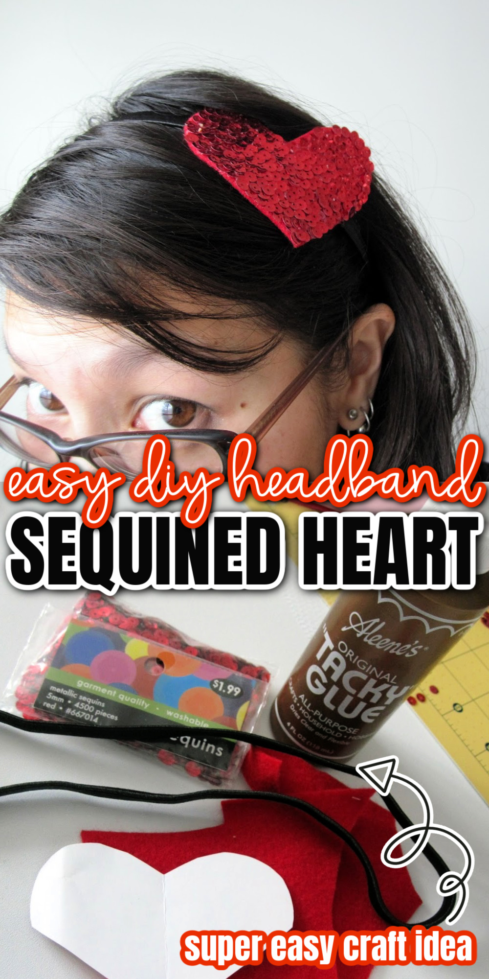 how to make a sequined heart headband
