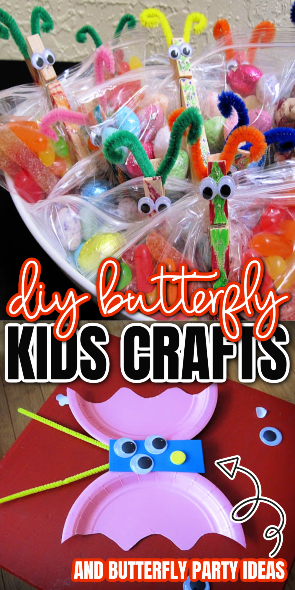 butterfly candy bags and paper plate kids crafts