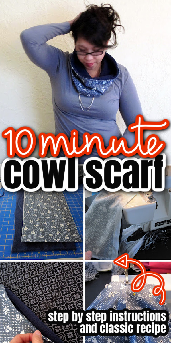 how to sew a cowl scarf in just 10 minutes tutorial