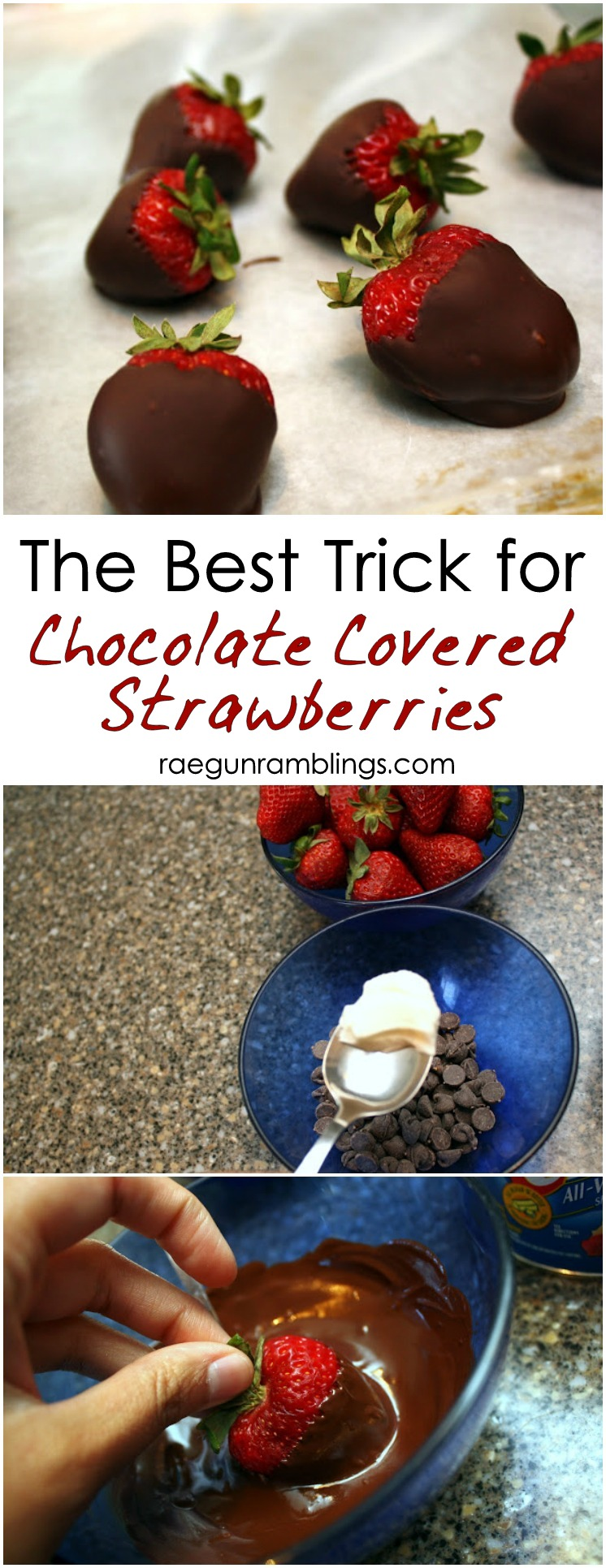 Hands down the best trick to making perfect chocolate covered strawberries nice and fast