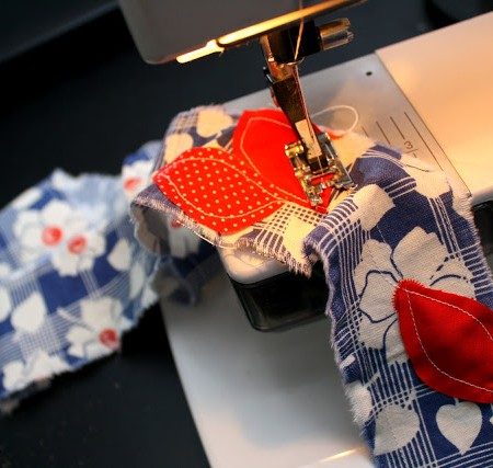 fabric on sewing machine
