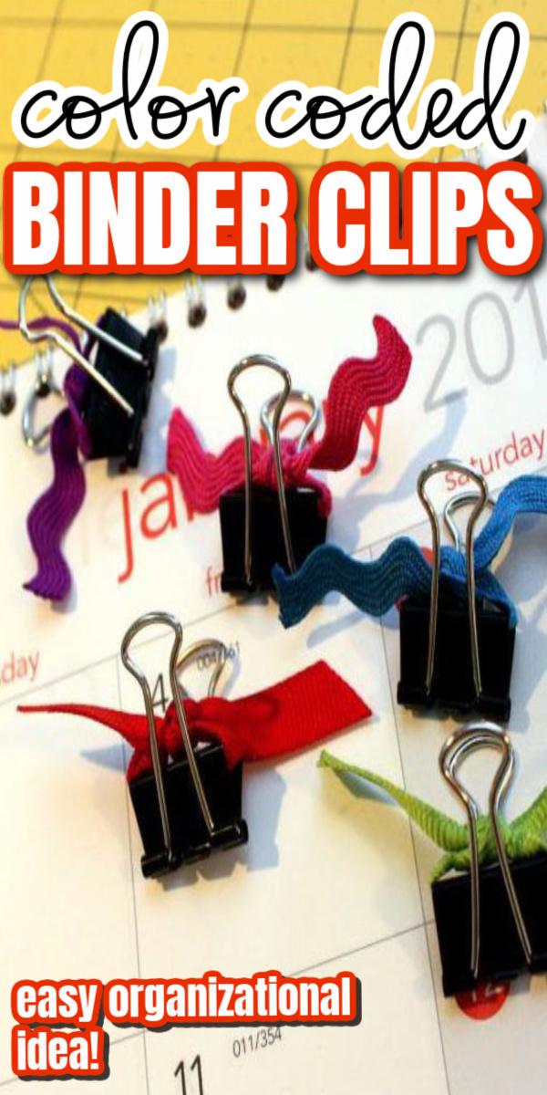 color coded binder clips great organization idea easy diy