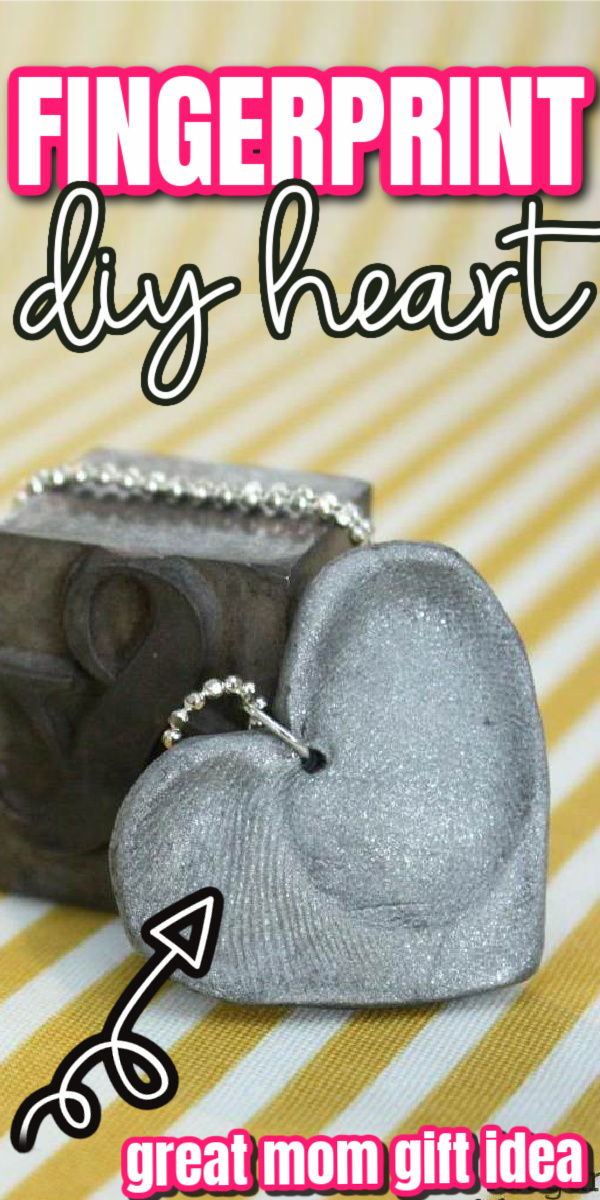 how to make a fingerprint heart necklace or key chain. easy craft tutorial great mother's gift