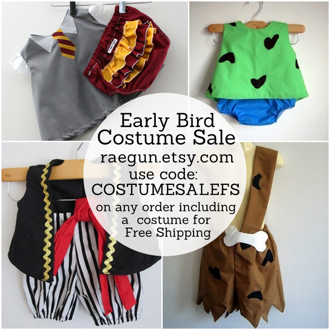 Early Bird Costume Sale! Gryffindor Student, Pirates, Pebbles and Bam Bam