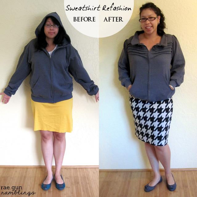 Turn an ordinary hoodie sweatshirt into a fun stylish jacket - Rae Gun Ramblings #upcycle #sewing
