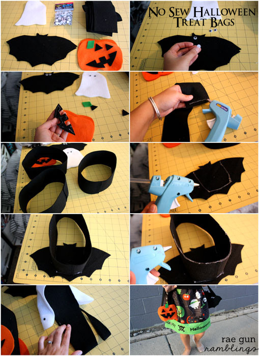 how to make a quick no sew Halloween goodie bag - Rae Gun Ramblings #spookyspaces #felt #craft