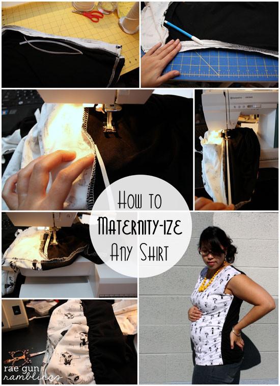 Maternity shirt tutorial step by step instructions - Rae Gun Ramblings