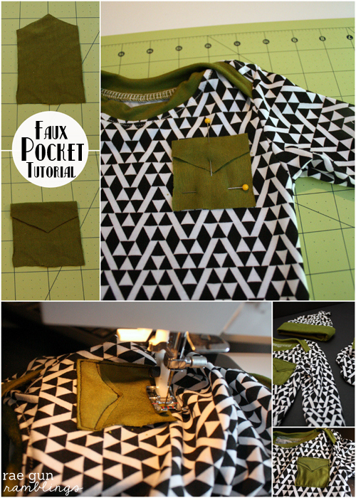How to add a simple faux pocket to anthing - Rae Gun Ramblings