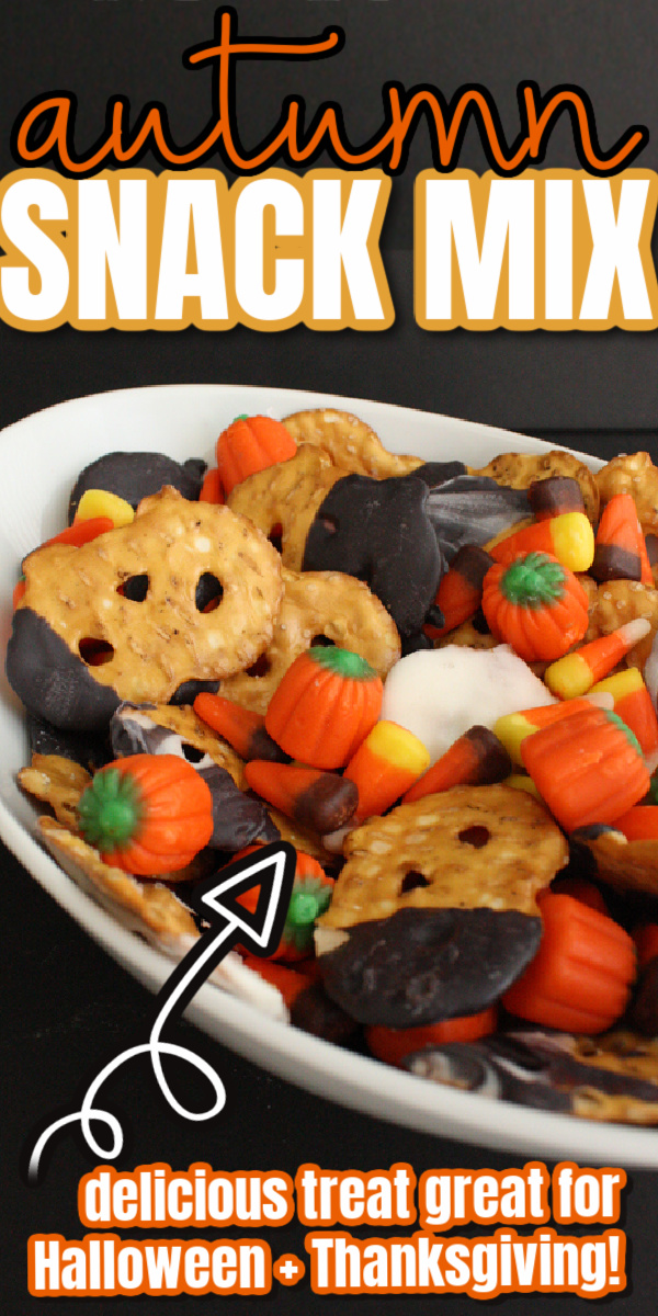 pretzel and candy corn in a bowl