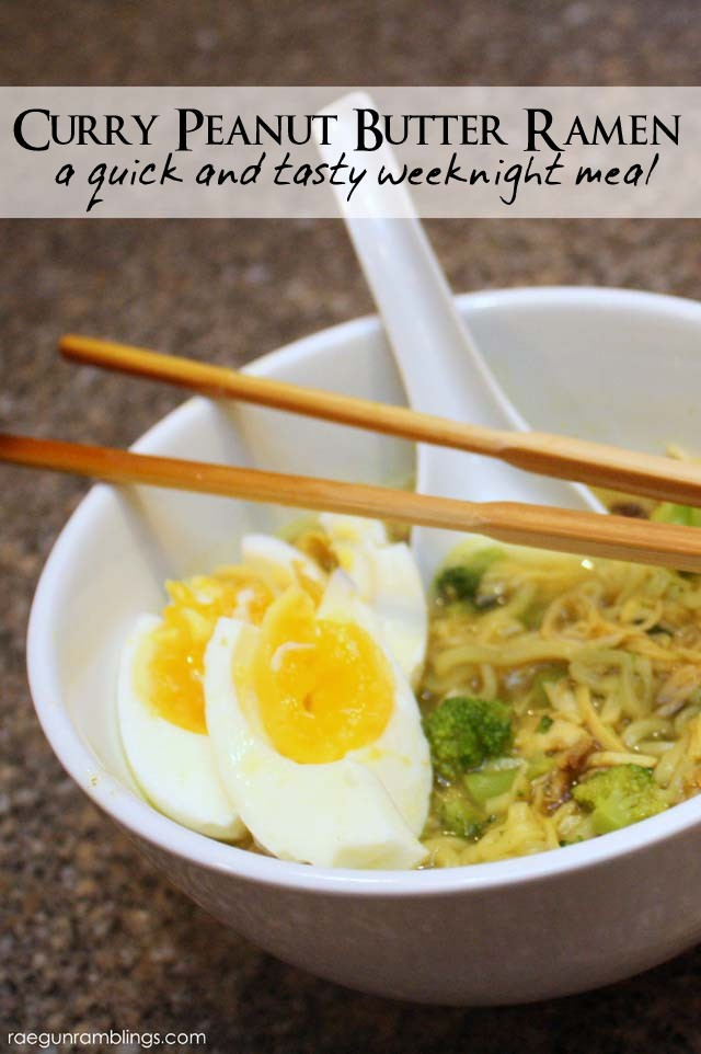 Curry Peanut Butter ramen one of my favorite weeknight meals. So easy and yummy - Rae Gun Ramblings