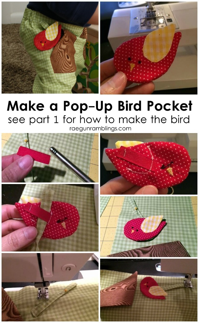 Easy way to make a cute pocket bird detail (the bird can hid in the pocket or slide out but is still attached) Rae Gun Ramblings