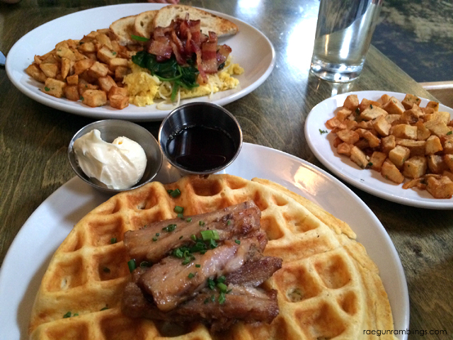Breakfast at Rye in Salt lake City Utah (pork bellow waffles with whiskey syrup)
