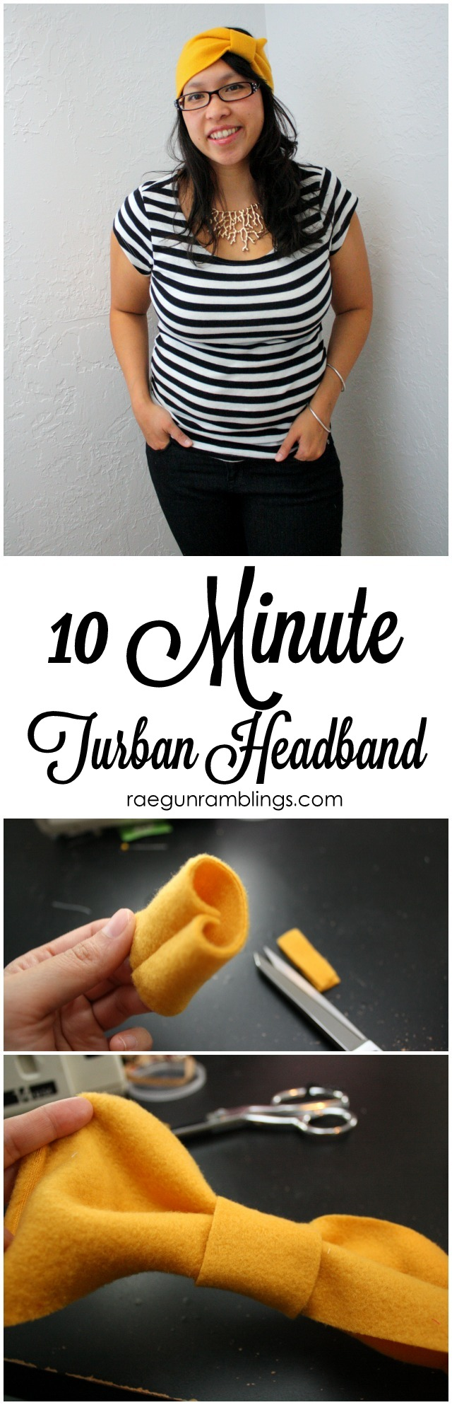 10 Minute Turban Style Headband with a darling big bow