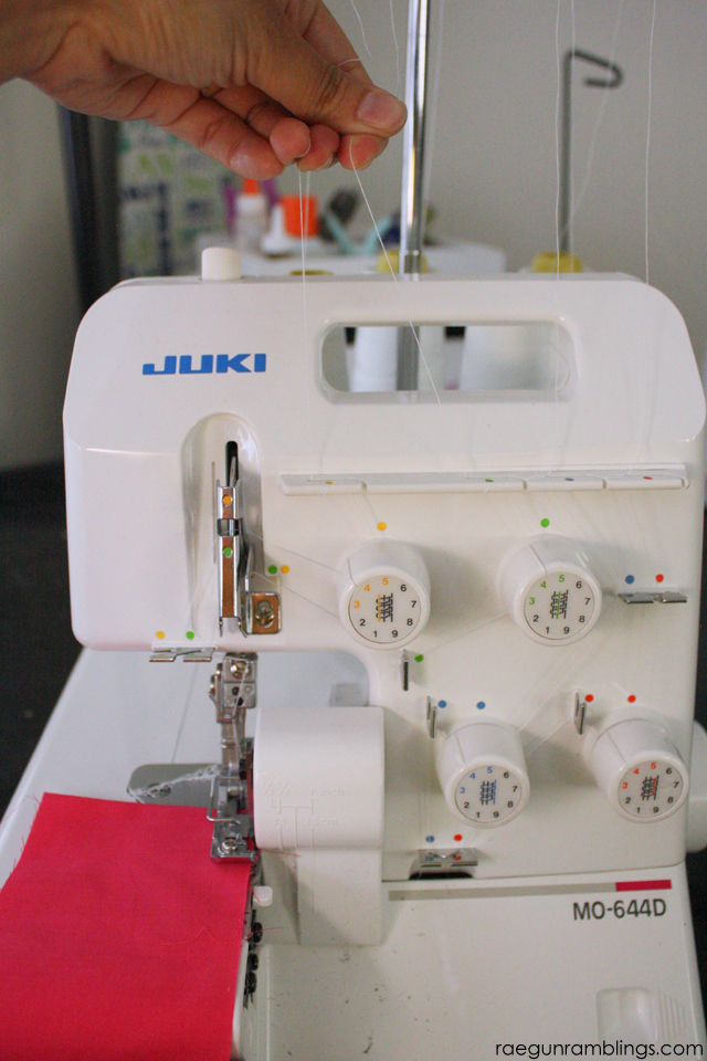 How to gather fabric on a serger without changing any settings or feet in just one step - Rae Gun Ramblings