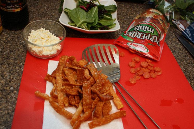 DIY crispy wonton strips for salads