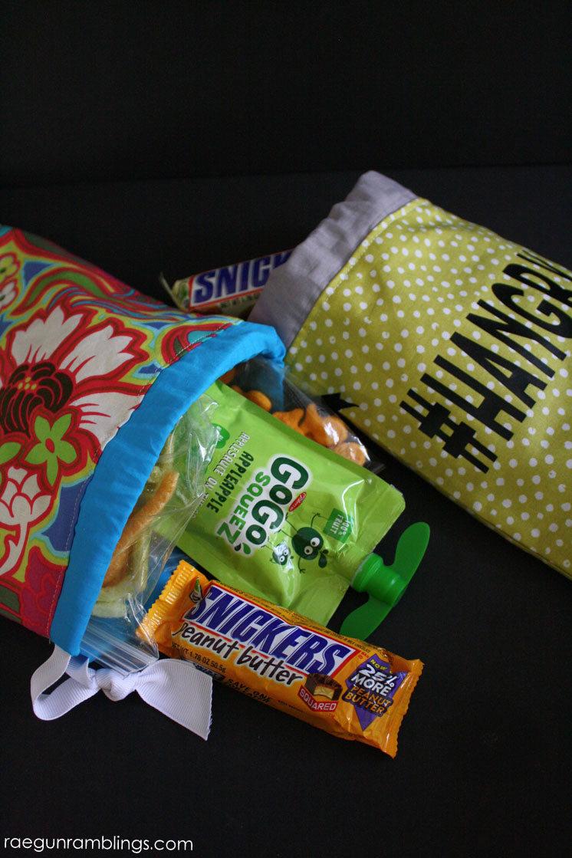 Hangry bag tutorial. Easy sewing DIY Snack bags great for scraps.