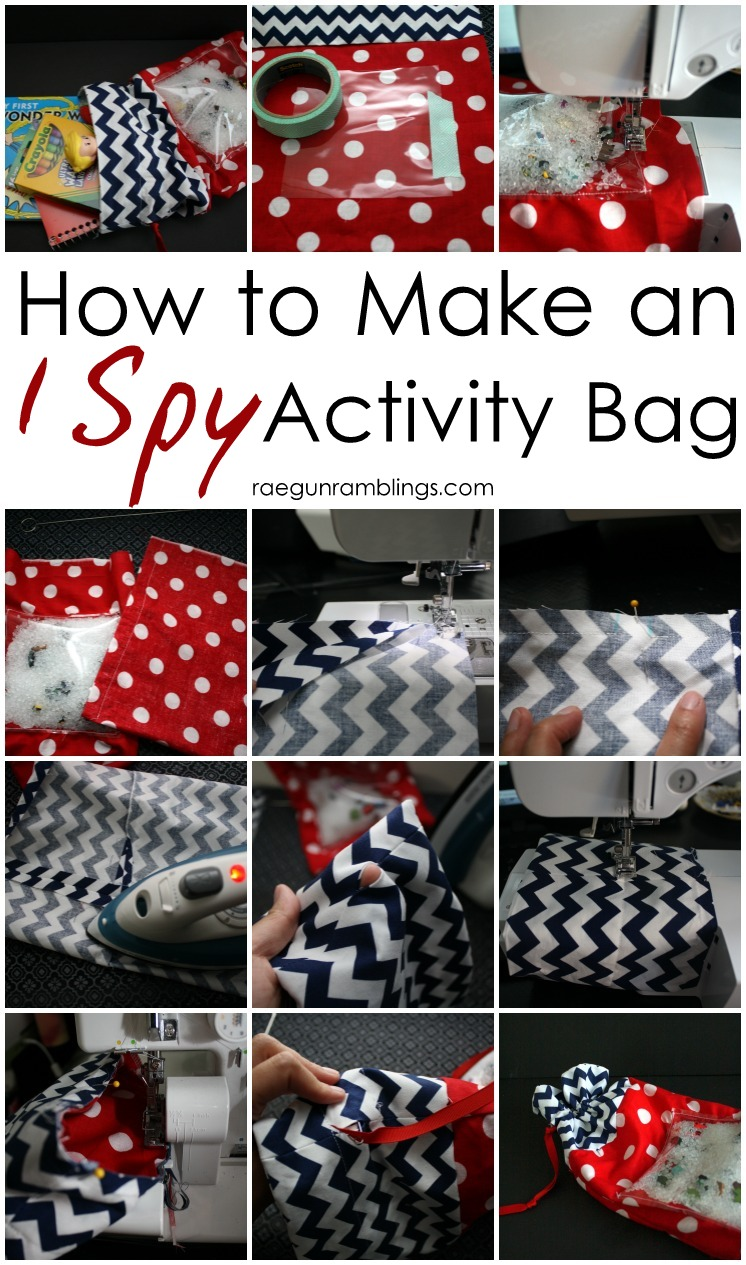 Tutorial for how to make an I SPY activity bag easy tutorial for Summer with kids