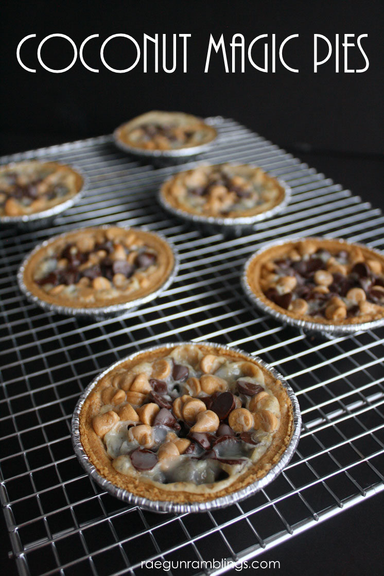 15 minute coconut magic cookie pies recipe. Great dessert to make with kids