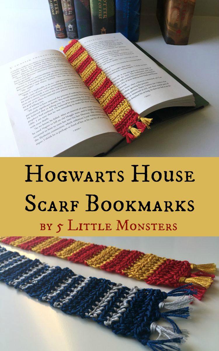 hogwarts house scarf bookmarks