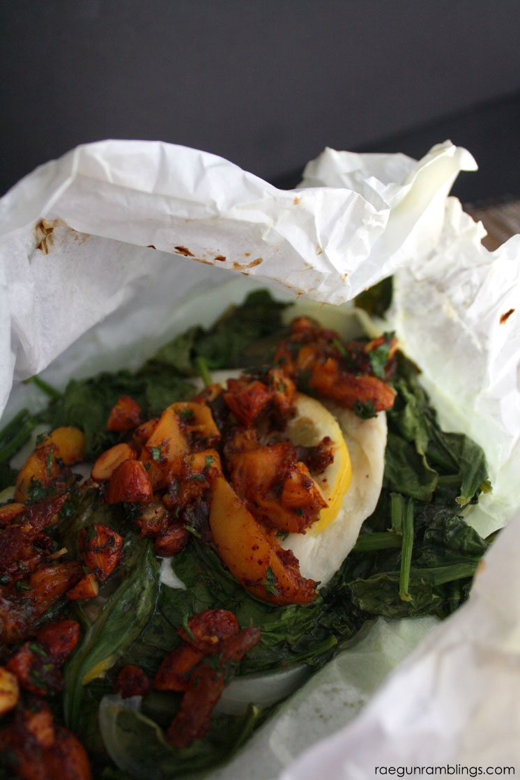Love this fish baked in parchment with spinach topped with warm apricot and date salad recipe. Delicious and healthy dinner with little clean up.