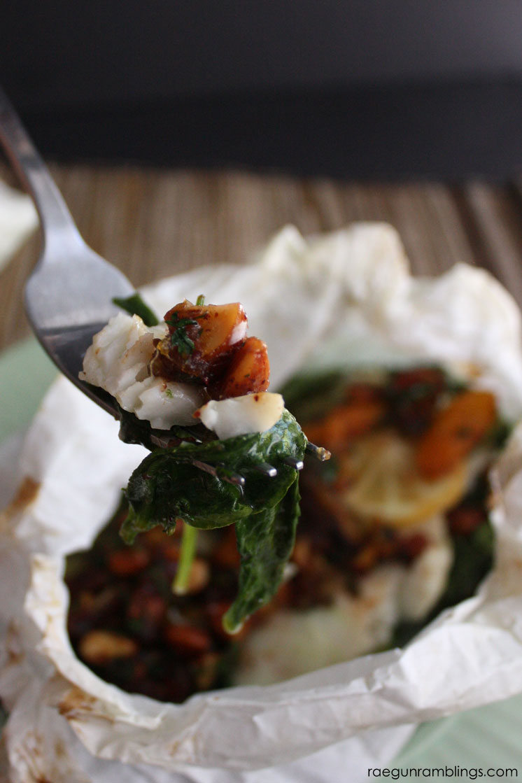 Sole baked in parchment with spinach topped with warm apricot and date salad recipe. Delicious and healthy dinner with little clean up.