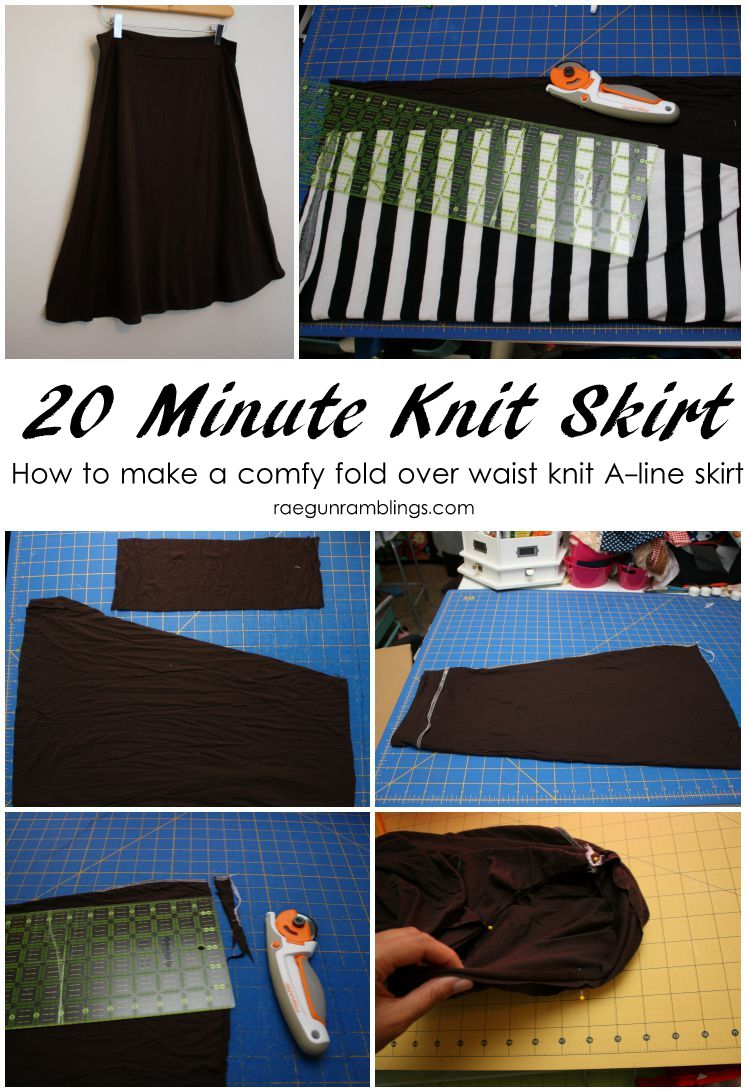 easy instructions on how to sew a knit aline skirt in just 20 minutes