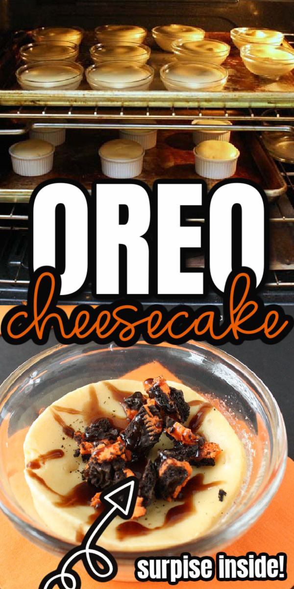 Quick and easy directions to making delicious Oreo Halloween Cheesecakes with a surprise.