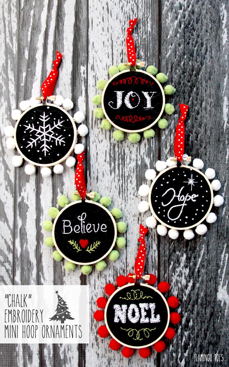 Super cute mini embroidery hoop ornaments